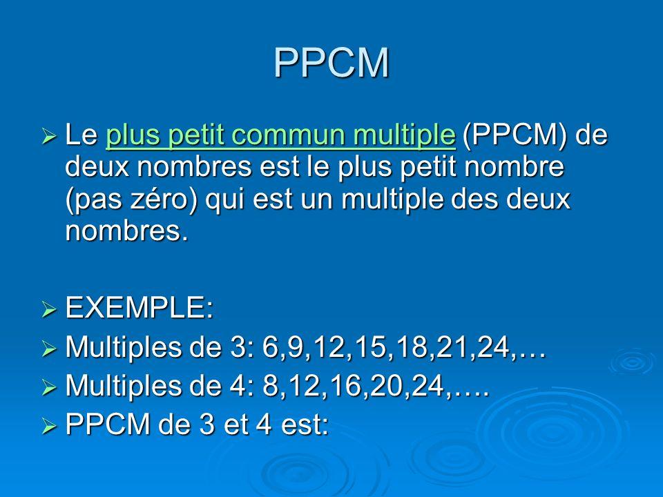 PPCM Le plus petit commun multiple (PPCM) de deux nombres est le plus petit nombre (pas zéro) qui est un multiple des deux nombres. Le plus petit comm