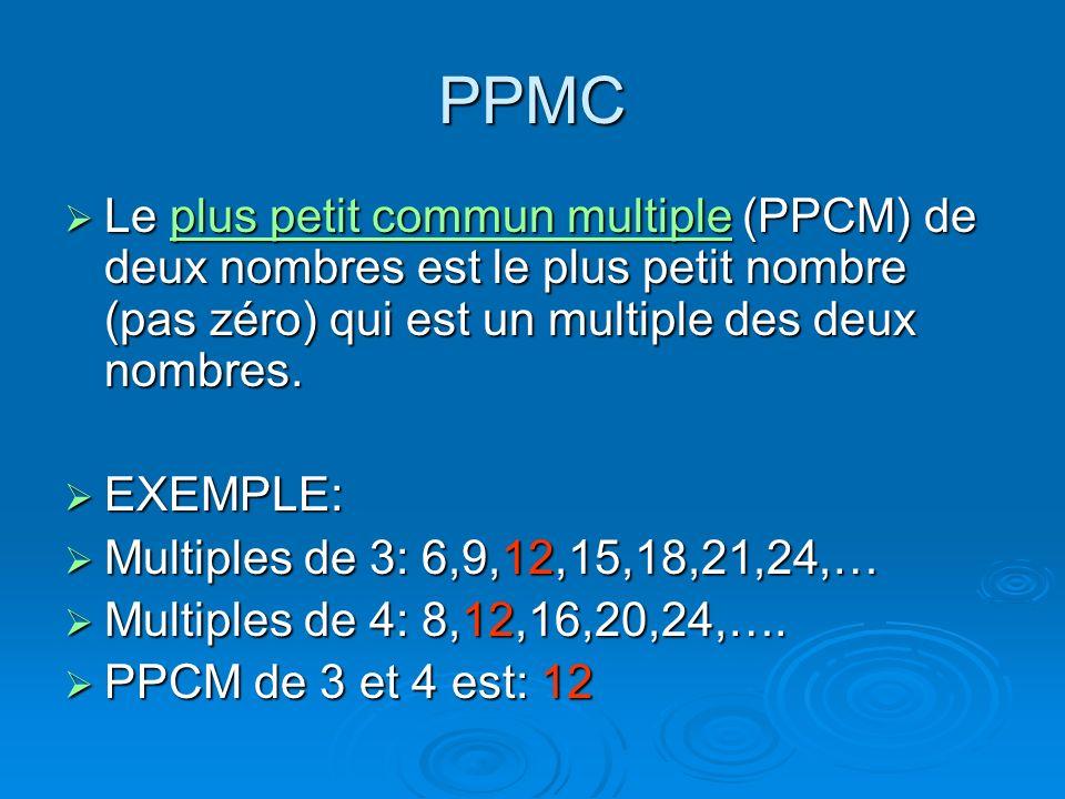 PPMC Le plus petit commun multiple (PPCM) de deux nombres est le plus petit nombre (pas zéro) qui est un multiple des deux nombres. Le plus petit comm