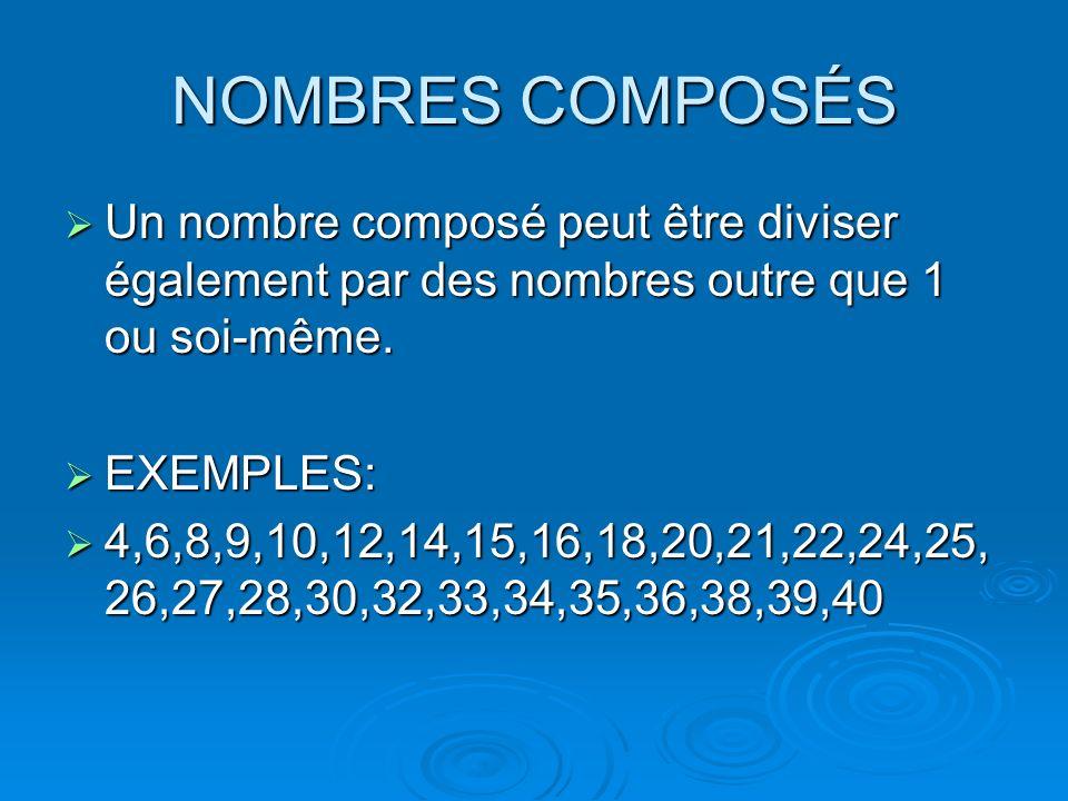 NOMBRES COMPOSÉS Un nombre composé peut être diviser également par des nombres outre que 1 ou soi-même. Un nombre composé peut être diviser également