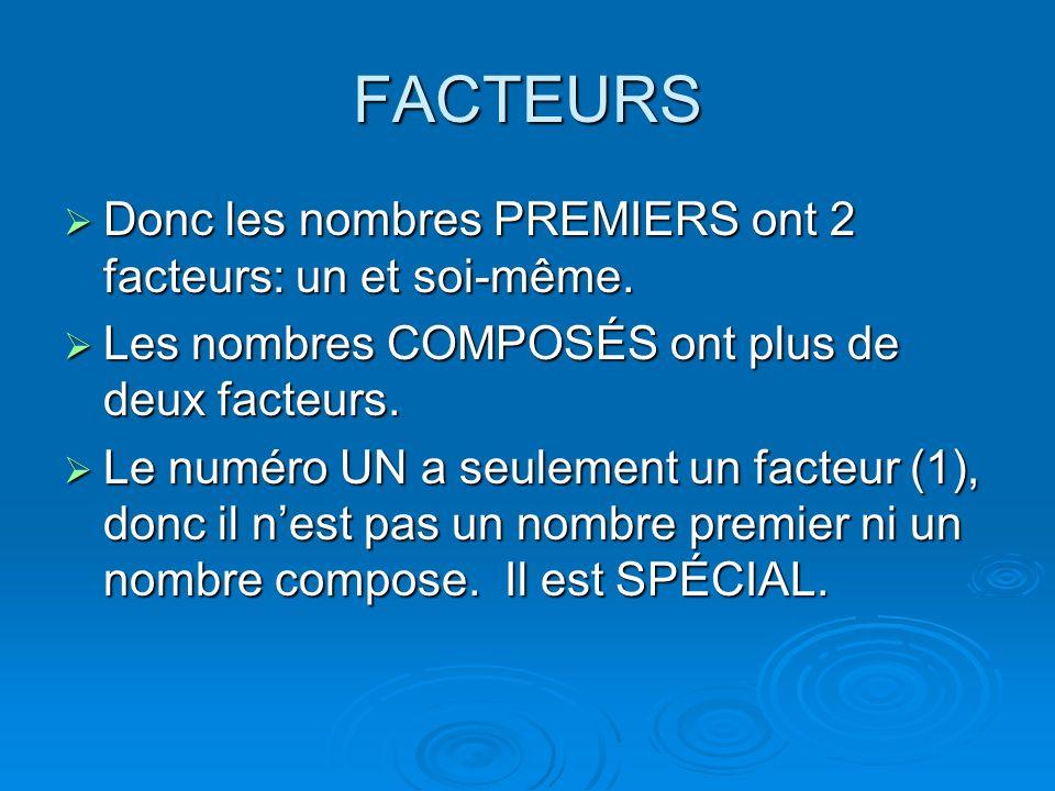 FACTEURS Donc les nombres PREMIERS ont 2 facteurs: un et soi-même. Donc les nombres PREMIERS ont 2 facteurs: un et soi-même. Les nombres COMPOSÉS ont