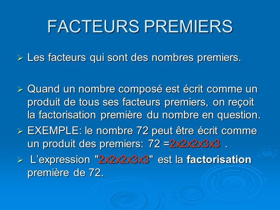 FACTEURS PREMIERS Les facteurs qui sont des nombres premiers. Les facteurs qui sont des nombres premiers. Quand un nombre composé est écrit comme un p