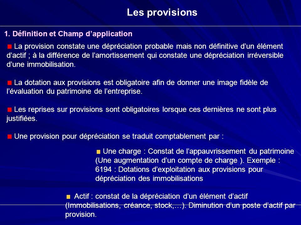 Les provisions 1. Définition et Champ dapplication La provision constate une dépréciation probable mais non définitive dun élément dactif ; à la diffé