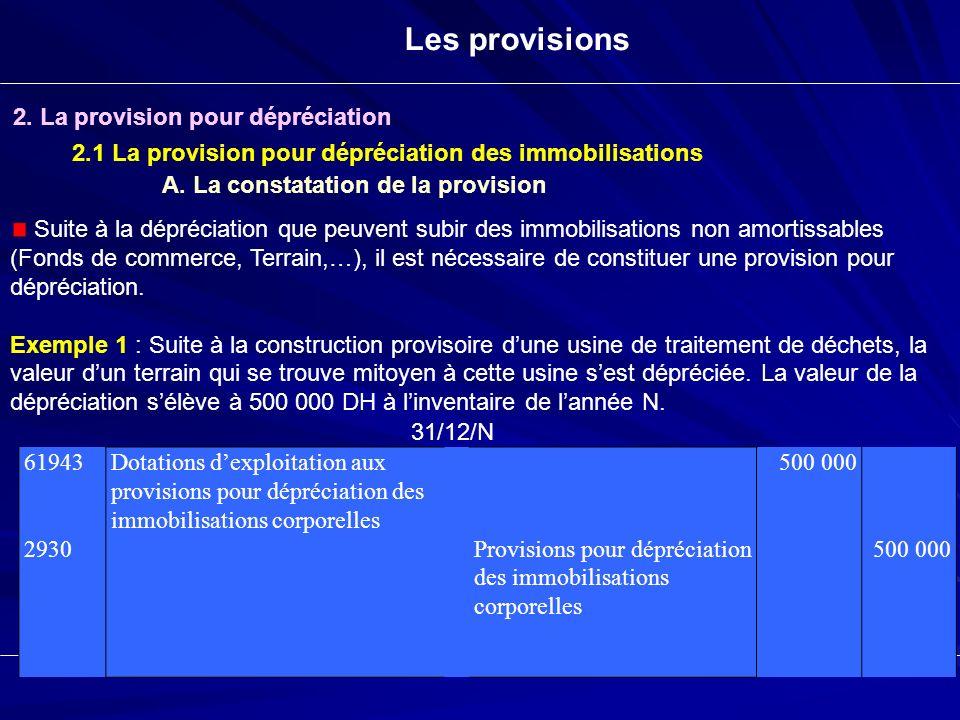 Les provisions 2. La provision pour dépréciation 2.1 La provision pour dépréciation des immobilisations Suite à la dépréciation que peuvent subir des