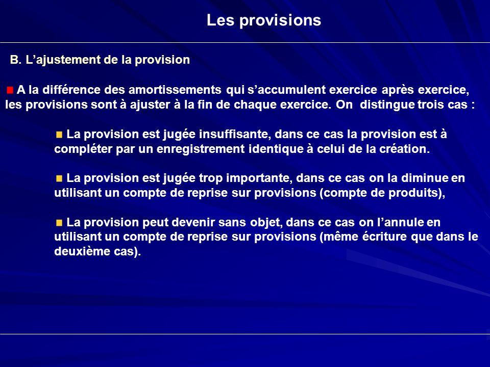Les provisions B. Lajustement de la provision A la différence des amortissements qui saccumulent exercice après exercice, les provisions sont à ajuste