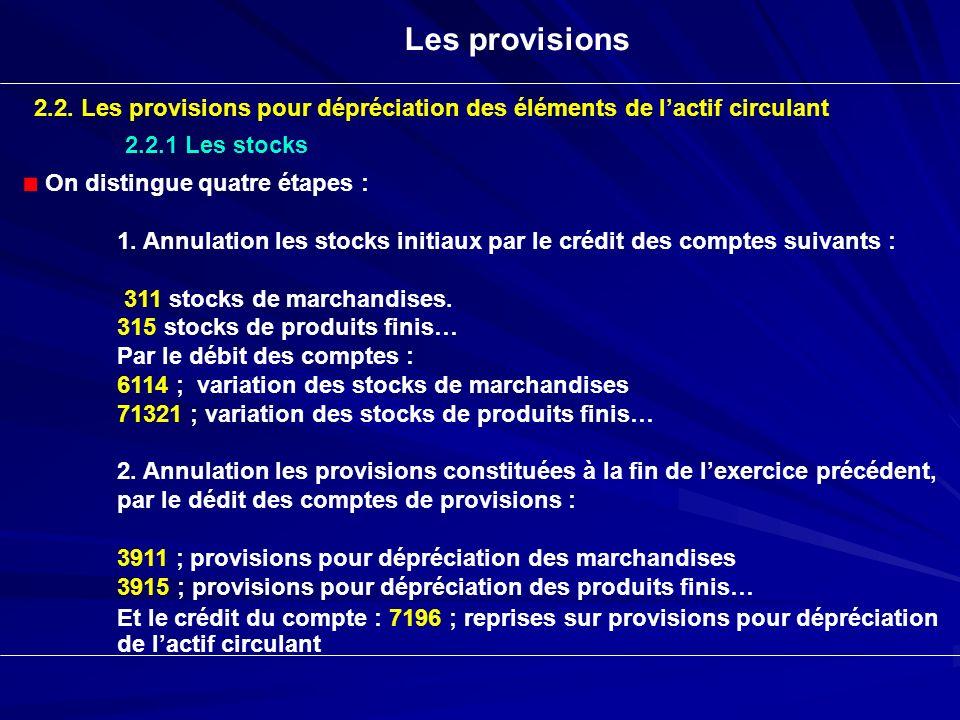 Les provisions 2.2. Les provisions pour dépréciation des éléments de lactif circulant 2.2.1 Les stocks On distingue quatre étapes : 1. Annulation les