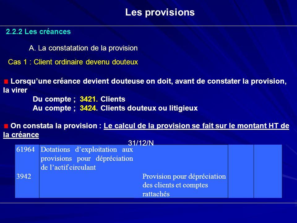 Les provisions 2.2.2 Les créances A. La constatation de la provision Lorsquune créance devient douteuse on doit, avant de constater la provision, la v