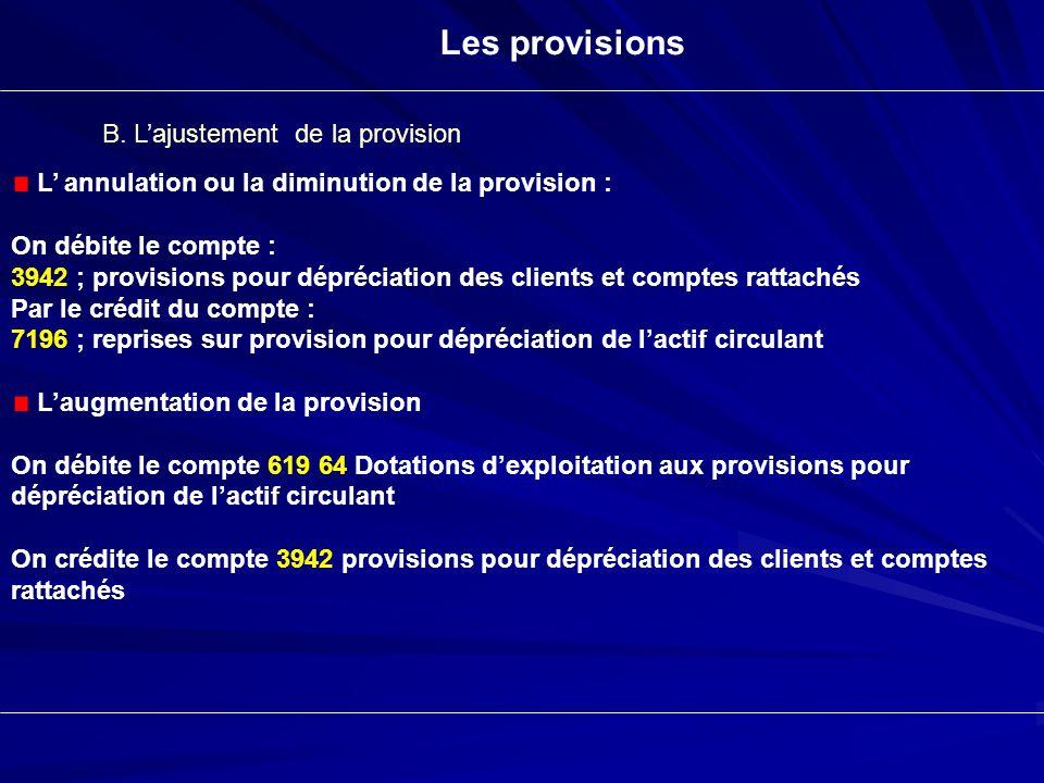 Les provisions B. Lajustement de la provision L annulation ou la diminution de la provision : On débite le compte : 3942 ; provisions pour dépréciatio