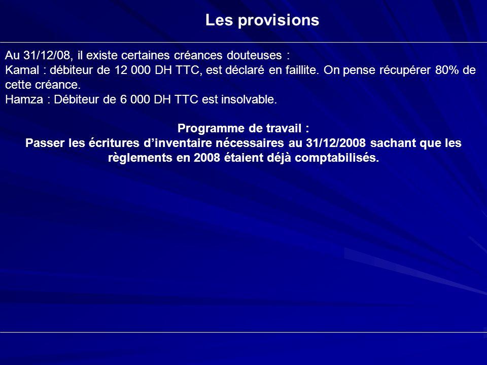 Les provisions Au 31/12/08, il existe certaines créances douteuses : Kamal : débiteur de 12 000 DH TTC, est déclaré en faillite. On pense récupérer 80