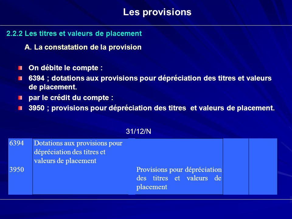 Les provisions 2.2.2 Les titres et valeurs de placement A. La constatation de la provision On débite le compte : 6394 ; dotations aux provisions pour