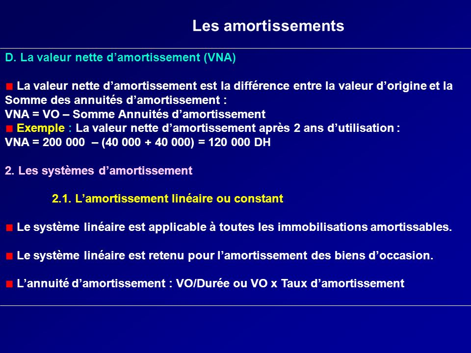 Les amortissements D. La valeur nette damortissement (VNA) La valeur nette damortissement est la différence entre la valeur dorigine et la Somme des a