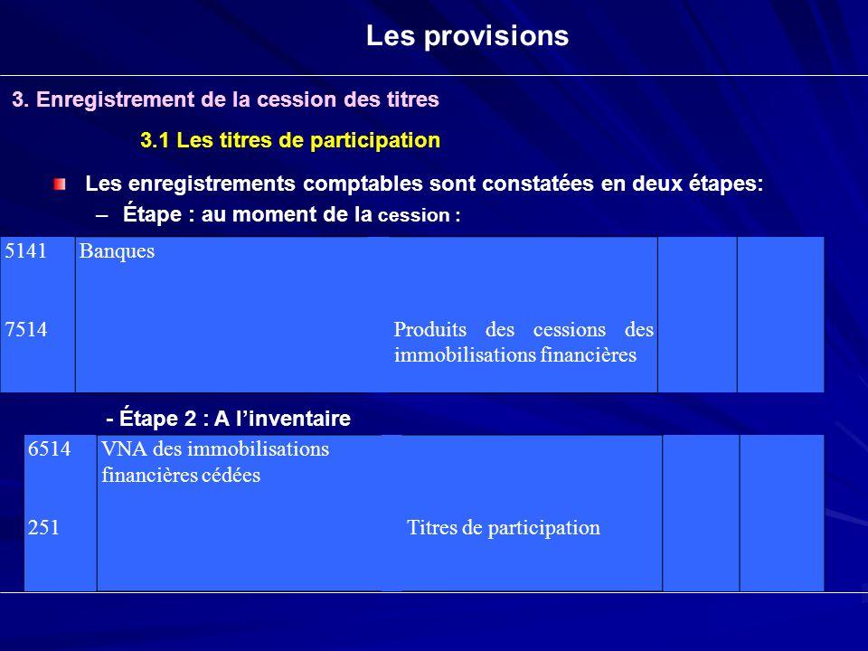 Les provisions 3. Enregistrement de la cession des titres 3.1 Les titres de participation Les enregistrements comptables sont constatées en deux étape