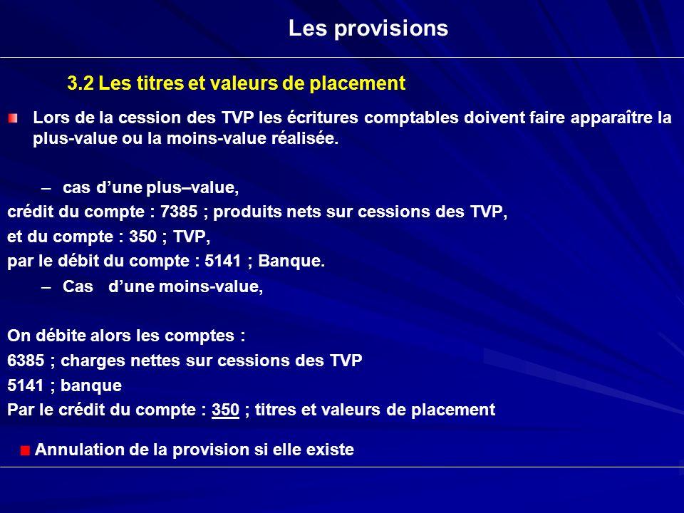 Lors de la cession des TVP les écritures comptables doivent faire apparaître la plus-value ou la moins-value réalisée. – –cas dune plus–value, crédit