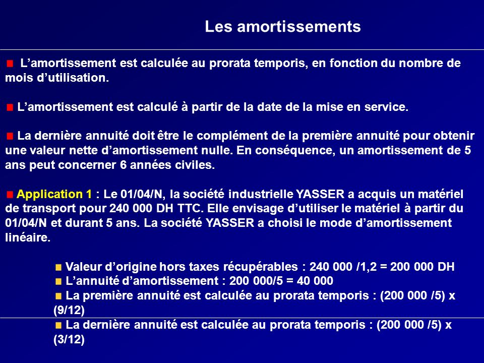 Les amortissements Lamortissement est calculée au prorata temporis, en fonction du nombre de mois dutilisation. Lamortissement est calculé à partir de