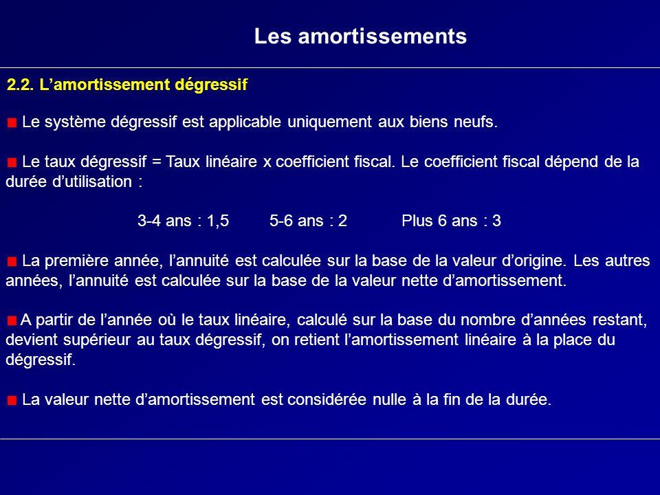 Les amortissements 2.2. Lamortissement dégressif Le système dégressif est applicable uniquement aux biens neufs. Le taux dégressif = Taux linéaire x c