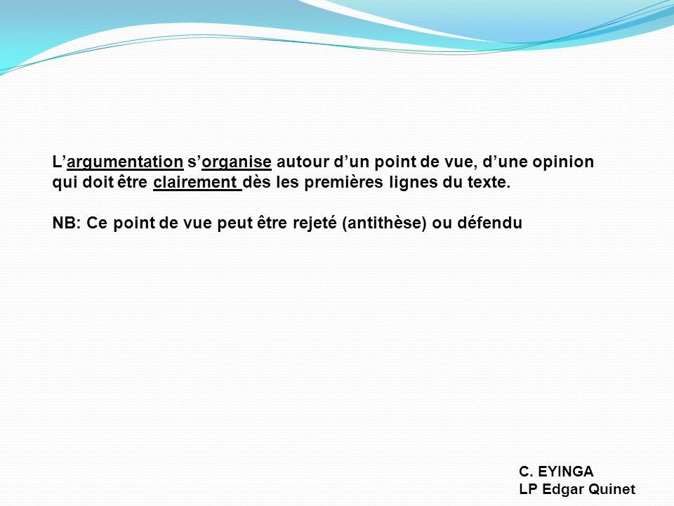 Comment réussir la rédaction dun paragraphe argumentatif C. EYINGA LP Edgar Quinet