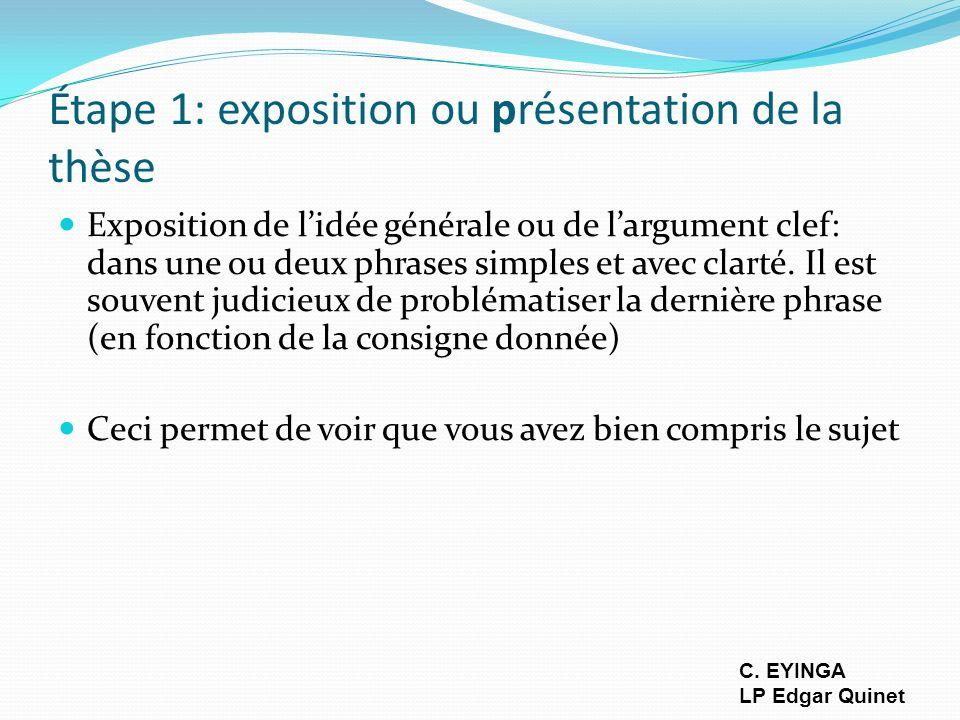 Étape 1: exposition ou présentation de la thèse Exposition de lidée générale ou de largument clef: dans une ou deux phrases simples et avec clarté. Il