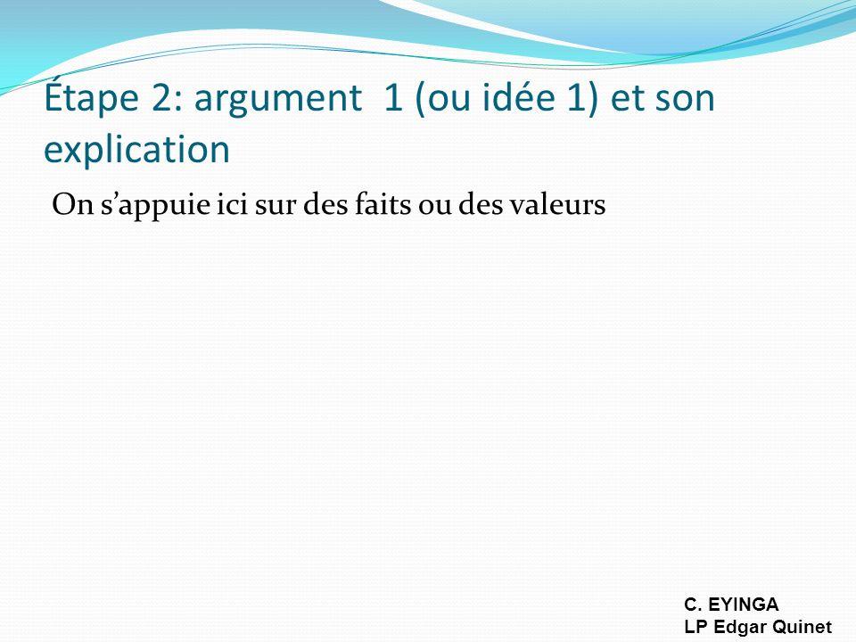 Étape 3:Illustration/exemple Exemple concret, citation, statistique, argument d autorité, expérience vécue, preuve quelconque...