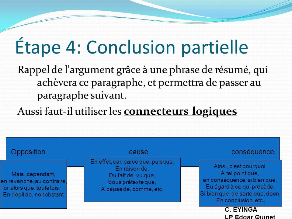 Étape 4: Conclusion partielle Rappel de l'argument grâce à une phrase de résumé, qui achèvera ce paragraphe, et permettra de passer au paragraphe suiv
