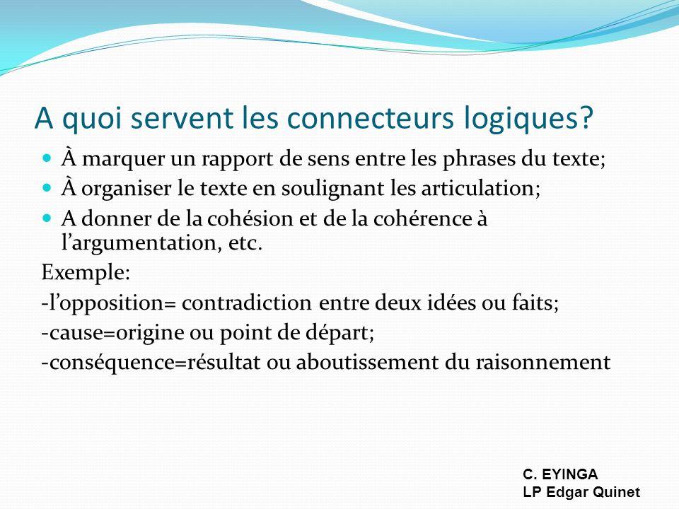 A quoi servent les connecteurs logiques? À marquer un rapport de sens entre les phrases du texte; À organiser le texte en soulignant les articulation;