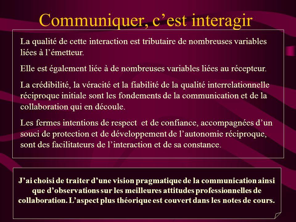 Communiquer, cest interagir La qualité de cette interaction est tributaire de nombreuses variables liées à lémetteur. Elle est également liée à de nom