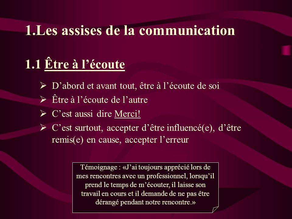 1.Les assises de la communication 1.1 Être à lécoute Dabord et avant tout, être à lécoute de soi Être à lécoute de lautre Cest aussi dire Merci.