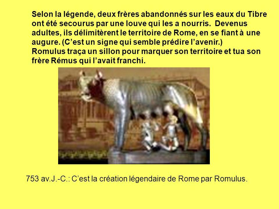 Selon la légende, deux frères abandonnés sur les eaux du Tibre ont été secourus par une louve qui les a nourris. Devenus adultes, ils délimitèrent le