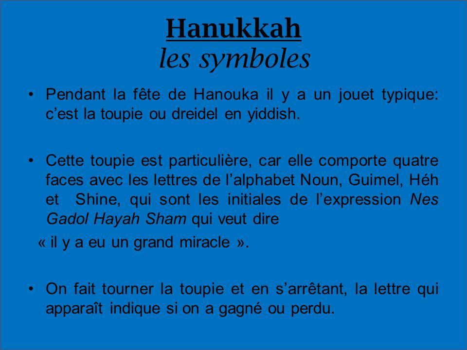 Hanukkah les symboles Pendant la fête de Hanouka il y a un jouet typique: cest la toupie ou dreidel en yiddish. Cette toupie est particulière, car ell