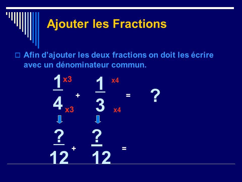 Afin dajouter les deux fractions on doit les écrire avec un dénominateur commun. Ajouter les Fractions 1414 + 1313 ? = x3 ? 12 += x4 ? 12