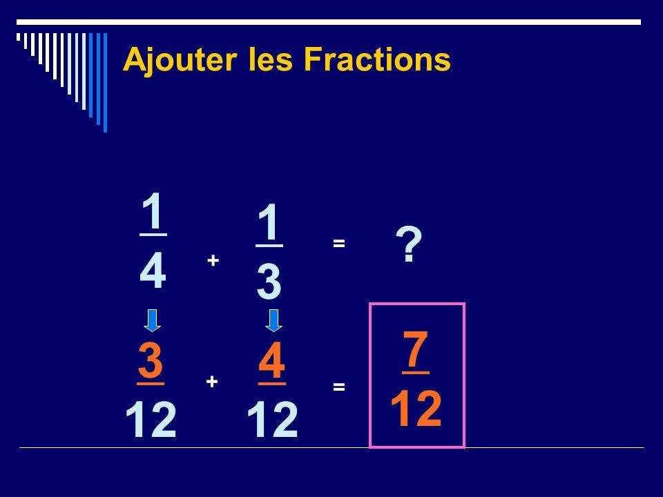Ajouter les Fractions 1414 + 1313 ? = 3 12 + 4 12 = 7 12