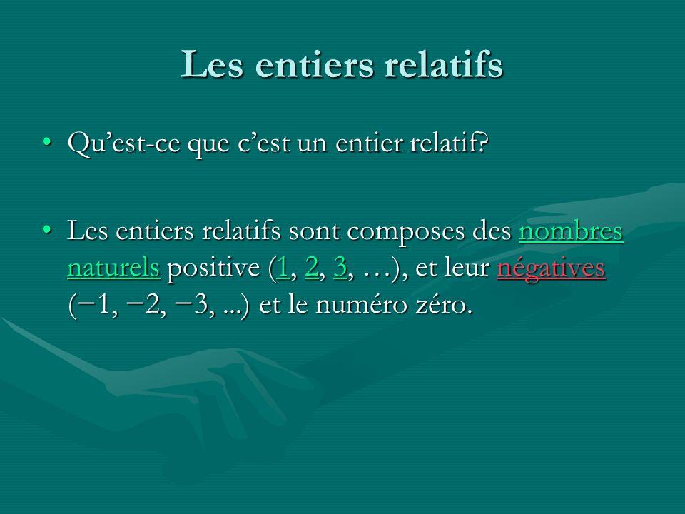 Les entiers relatifs Quest-ce que cest un entier relatif?Quest-ce que cest un entier relatif? Les entiers relatifs sont composes des nombres naturels