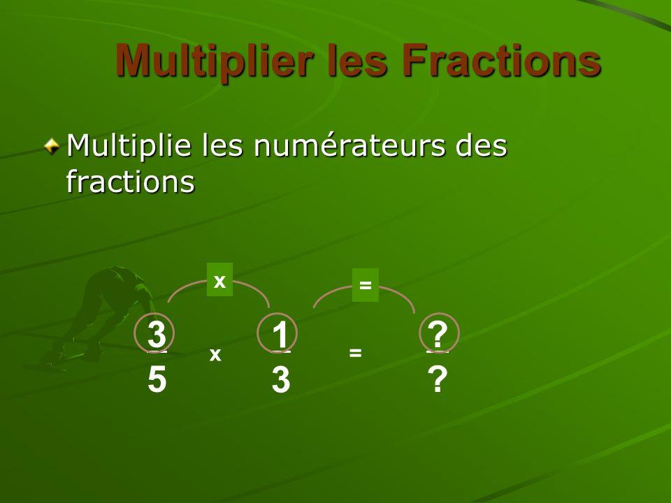 Multiplie les numérateurs des fractions Multiplier les Fractions 3535 x 1313 = x = ????