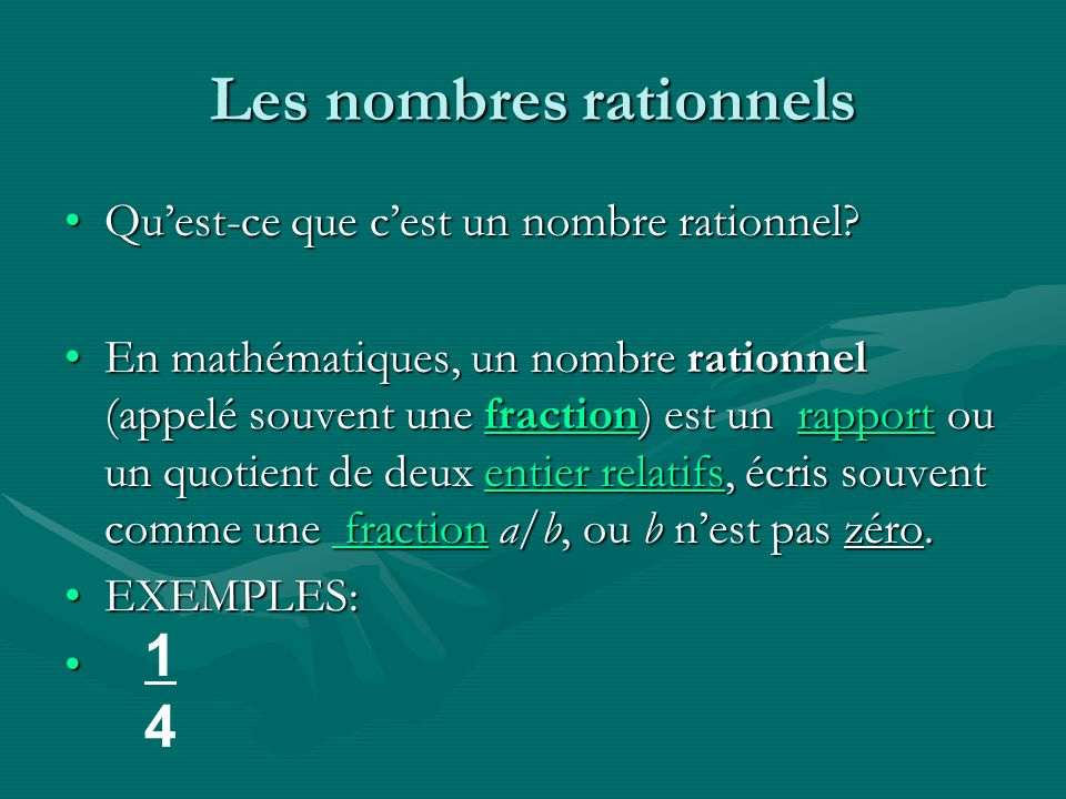 Les nombres rationnels Quest-ce que cest un nombre rationnel?Quest-ce que cest un nombre rationnel? En mathématiques, un nombre rationnel (appelé souv
