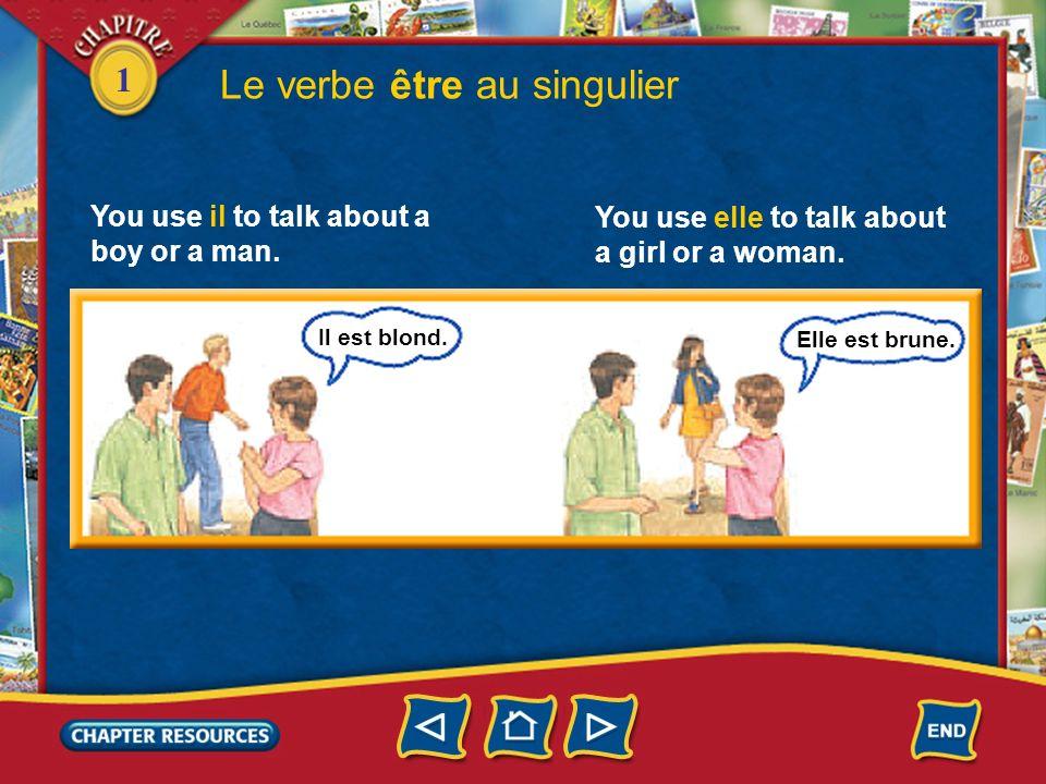 1 2. You use je to talk about yourself. Le verbe être au singulier Je suis française. Tu es américain? You use tu to address a friend.
