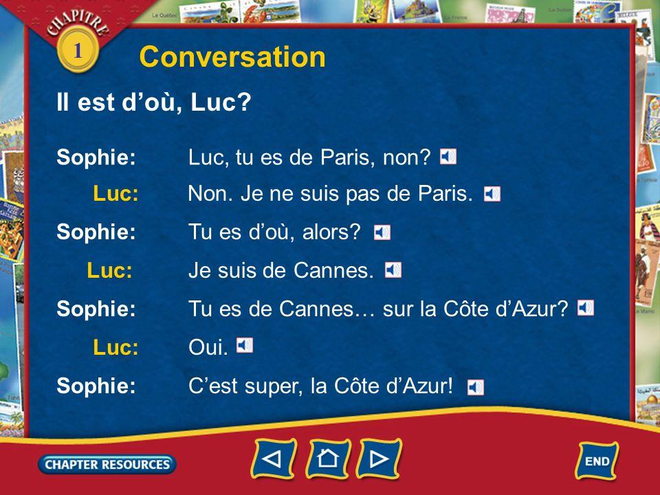 1 Conversation Il est doù, Luc? Sophie:Luc, tu es de Paris, non? Luc: Non. Je ne suis pas de Paris. Luc:Je suis de Cannes. Sophie:Tu es doù, alors? So