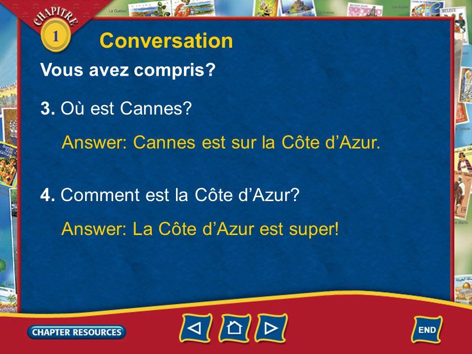 1 Conversation Vous avez compris? 1. Luc est de Paris? Answer: Non. Luc nest pas de Paris. 2. Il est doù? Answer: Il est de Cannes.