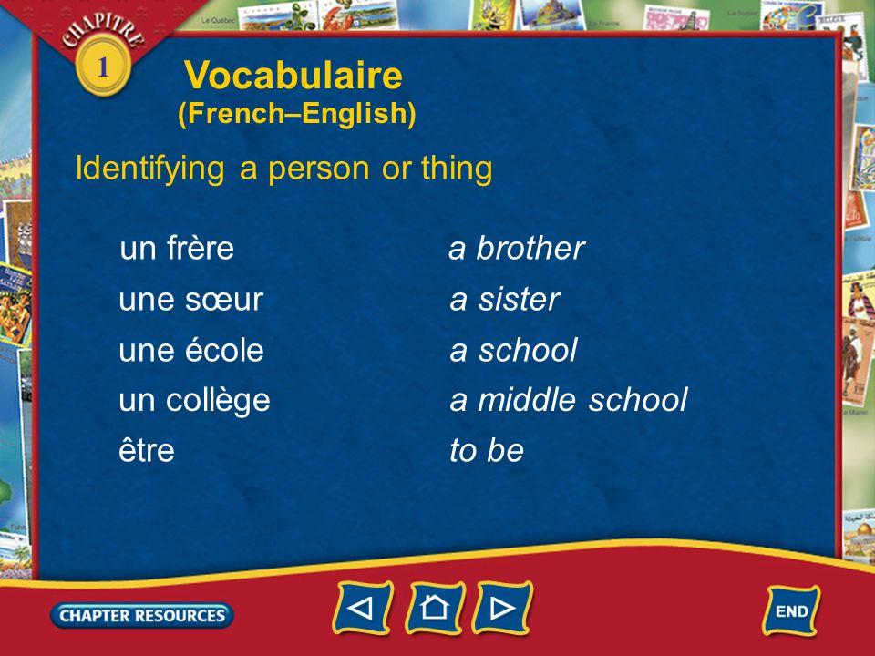 1 Vocabulaire Identifying a person or thing un garçon une fille un ami une amie un(e) élève a boy a girl a friend (male) a friend (female) a student F