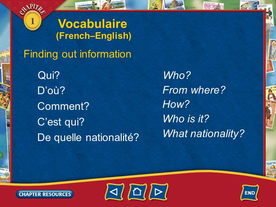 1 français(e) américain(e) French American Stating nationality Vocabulaire (French–English)