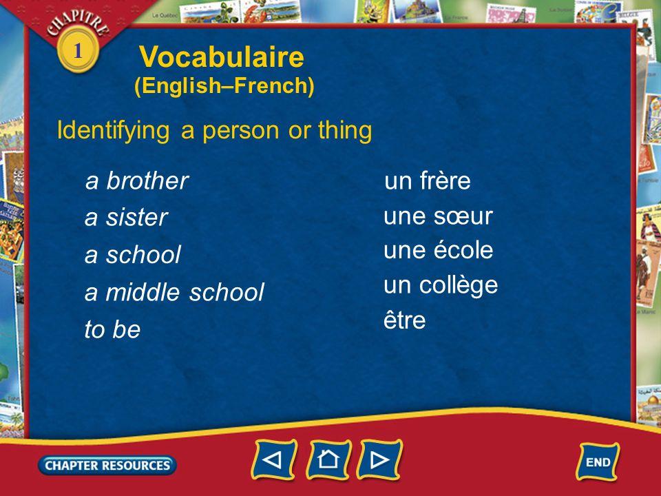 1 a boy a girl a friend (male) a friend (female) a student un garçon une fille un ami une amie un(e) élève Identifying a person or thing Vocabulaire (