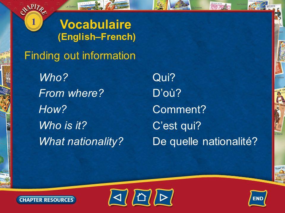 1 French American français(e) américain(e) Stating nationality Vocabulaire (English–French)