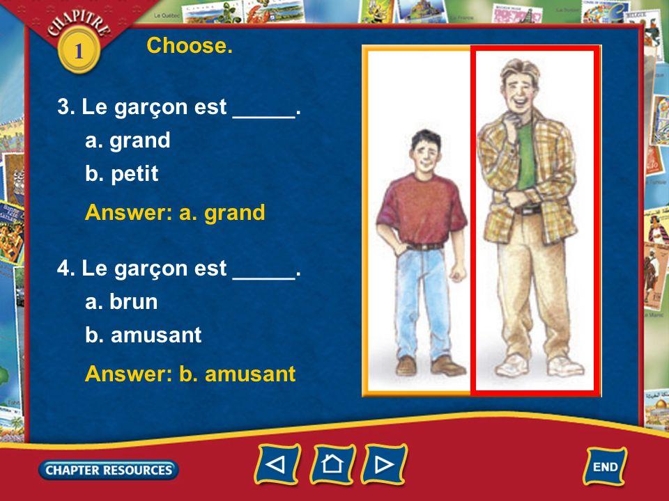 1 Choose. Answer: b. petite Answer: a. brune 1. La fille est _____. a. grande b. petite 2. La fille est _____. a. brune b. blonde