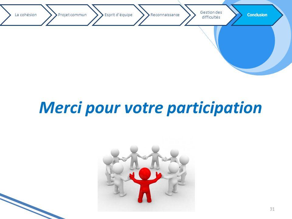 31 La cohésionProjet communEsprit déquipeReconnaissance Gestion des difficultés Merci pour votre participation