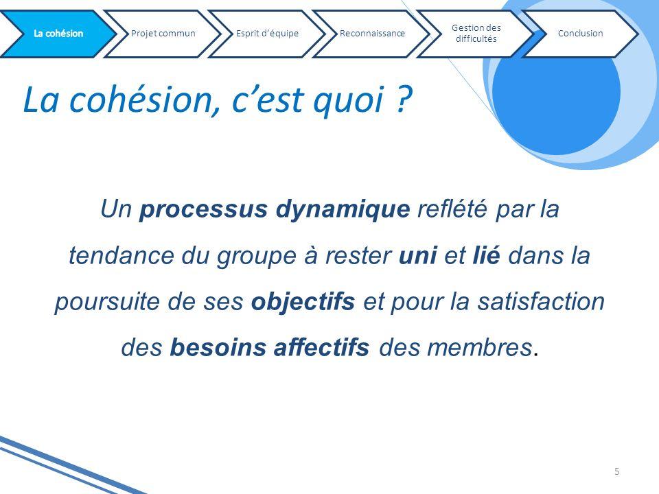 La cohésion, cest quoi ? 5 Projet communEsprit déquipeReconnaissance Gestion des difficultés Conclusion Un processus dynamique reflété par la tendance