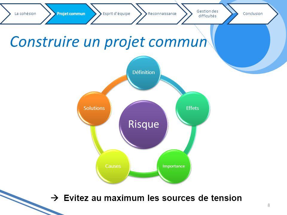 Construire un projet commun 8 Risque DéfinitionEffets Importance CausesSolutions Evitez au maximum les sources de tension La cohésionEsprit déquipeRec