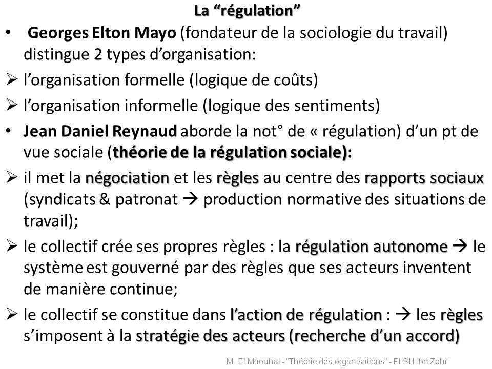 La régulation Georges Elton Mayo (fondateur de la sociologie du travail) distingue 2 types dorganisation: lorganisation formelle (logique de coûts) lo