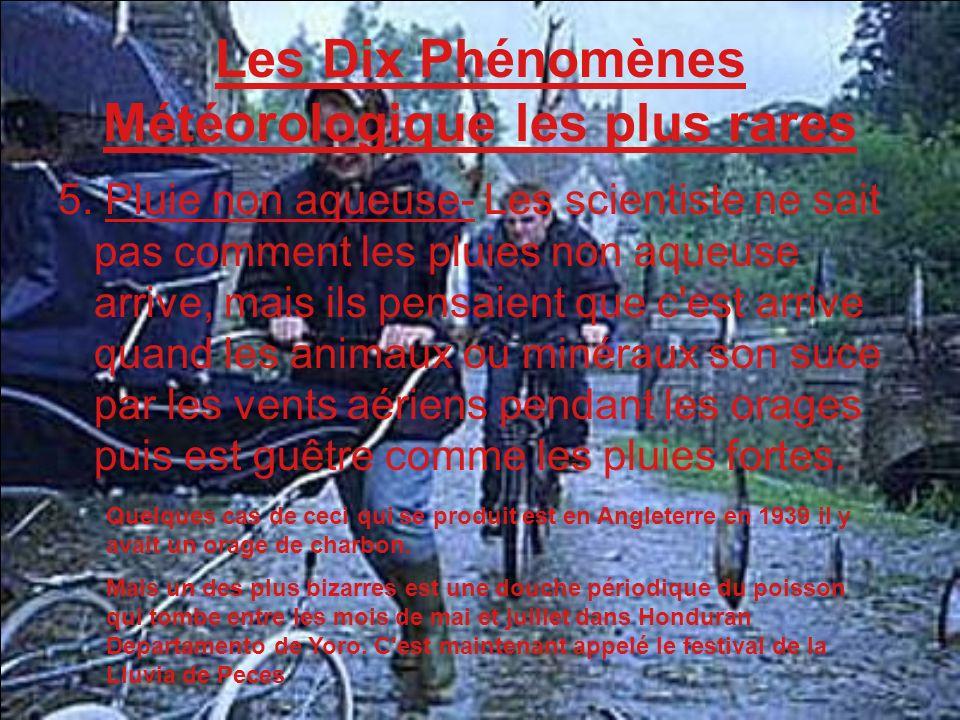 Les Dix Phénomènes Météorologique les plus rares 5. Pluie non aqueuse- Les scientiste ne sait pas comment les pluies non aqueuse arrive, mais ils pens