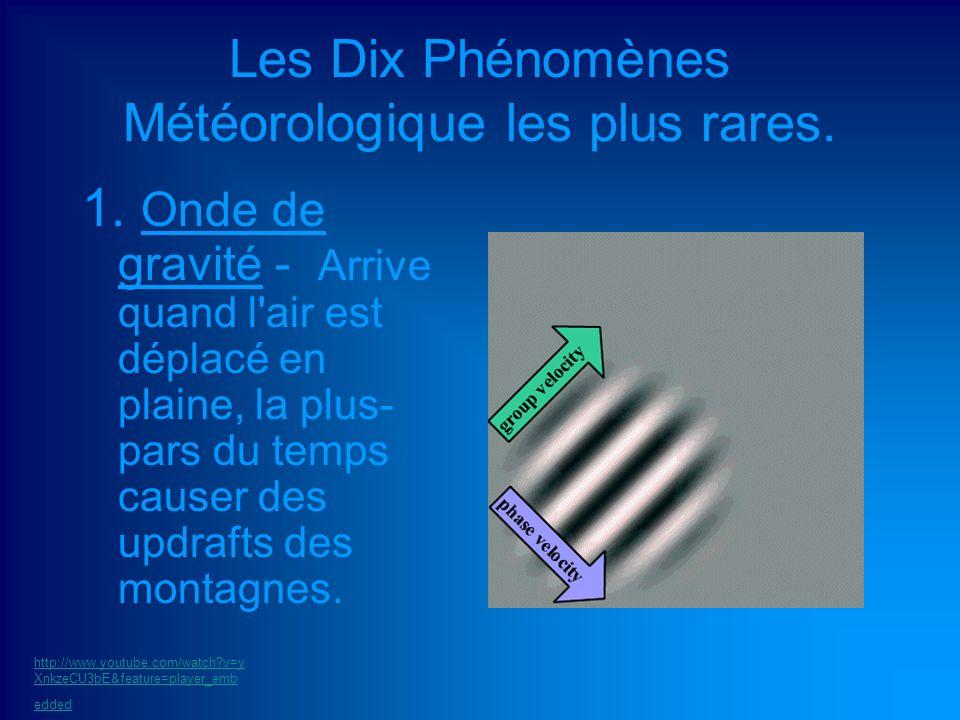Les Dix Phénomènes Météorologique les plus rares. 1. Onde de gravité - Arrive quand l'air est déplacé en plaine, la plus- pars du temps causer des upd