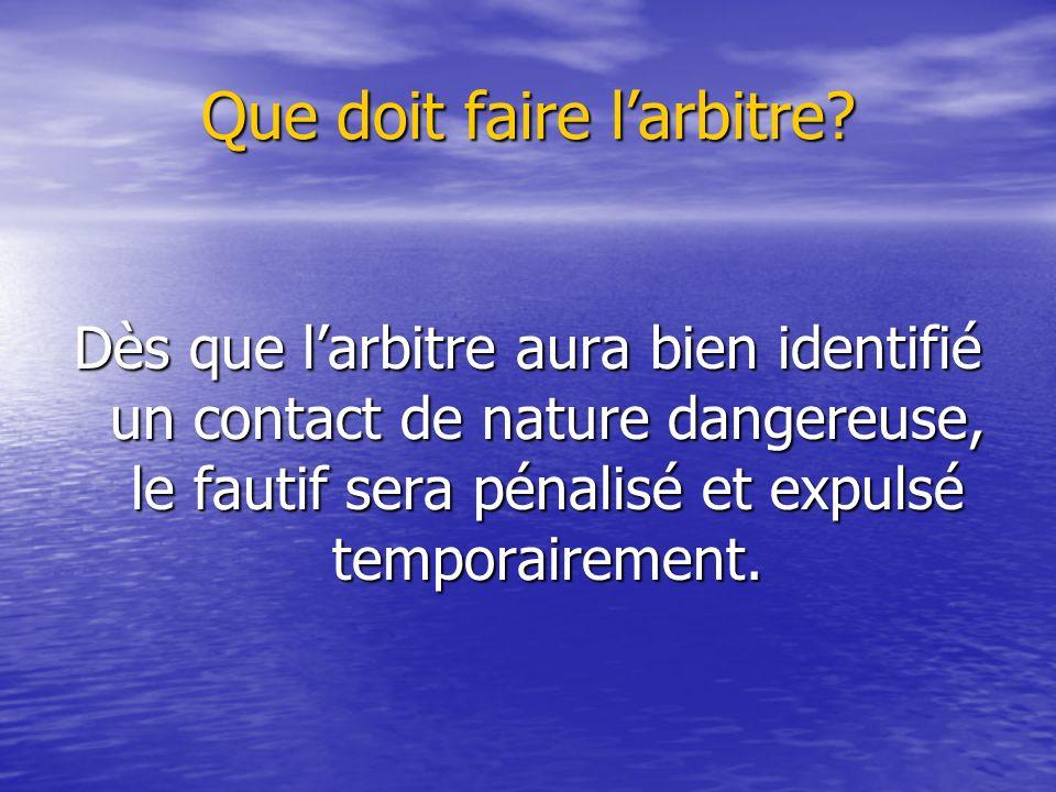 Que doit faire larbitre? Dès que larbitre aura bien identifié un contact de nature dangereuse, le fautif sera pénalisé et expulsé temporairement.