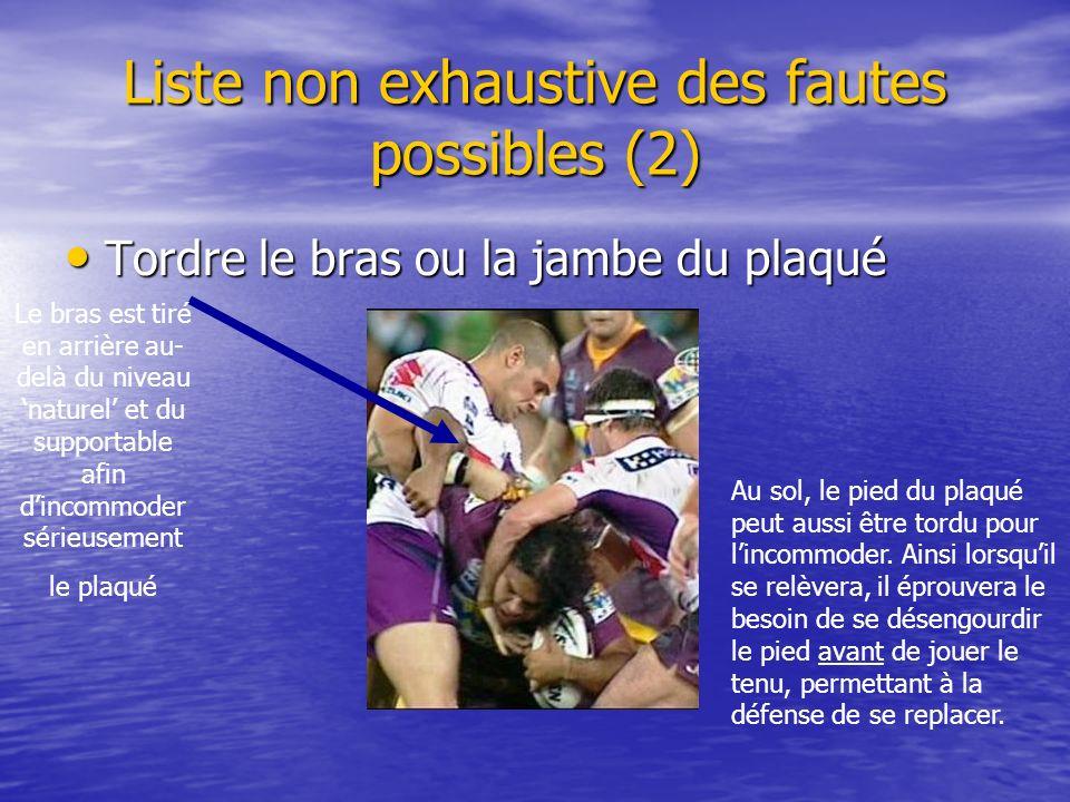 Liste non exhaustive des fautes possibles (2) Tordre le bras ou la jambe du plaqué Tordre le bras ou la jambe du plaqué Le bras est tiré en arrière au