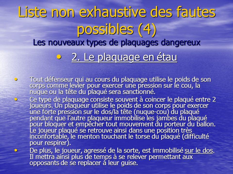 Liste non exhaustive des fautes possibles (4) Les nouveaux types de plaquages dangereux 2.