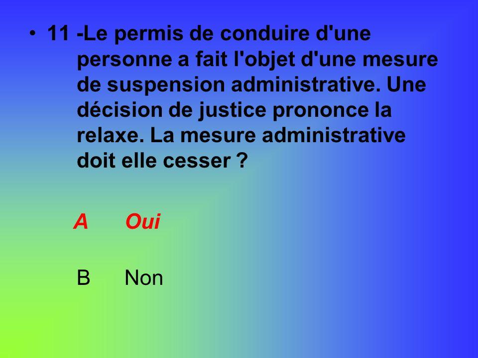 11 -Le permis de conduire d'une personne a fait l'objet d'une mesure de suspension administrative. Une décision de justice prononce la relaxe. La mesu